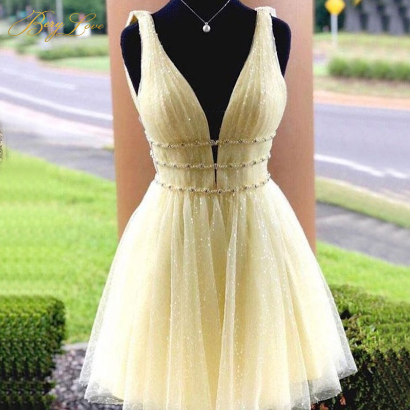 Sparkle Bright Yellow Homecoming Dress Short Sexy V Neck A Line Glitter Backless Shiny Vestido Curto Sequin Cocktail Gown Bead
