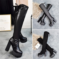 Square Chunky Block High Heels Riding Boots Women Slip On Thick Platform Rock Punk Botas Mujer Over the Knee High Boots Shoes