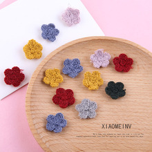 10pcs handmade jewelry accessories autumn and winter women's wool knitting small flowers hairpin earrings accessories materials