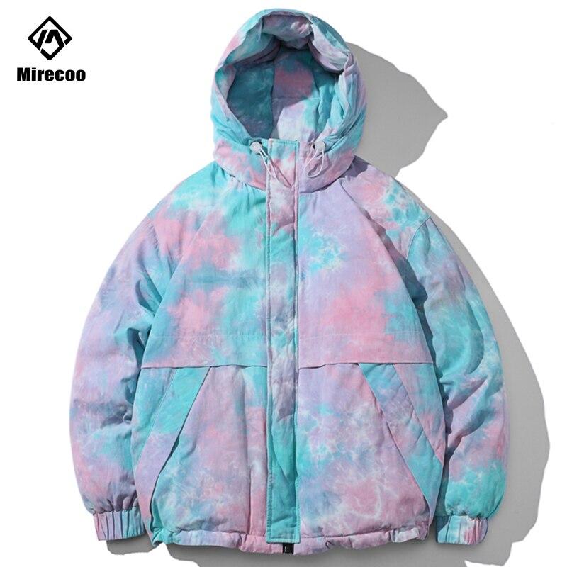 Hooded Winter Jacket Men Tie Dyeing Print Mens Parka Down Jacket Coat Warm Couple Windbreaker Streetwear Men Clothing2019 Top