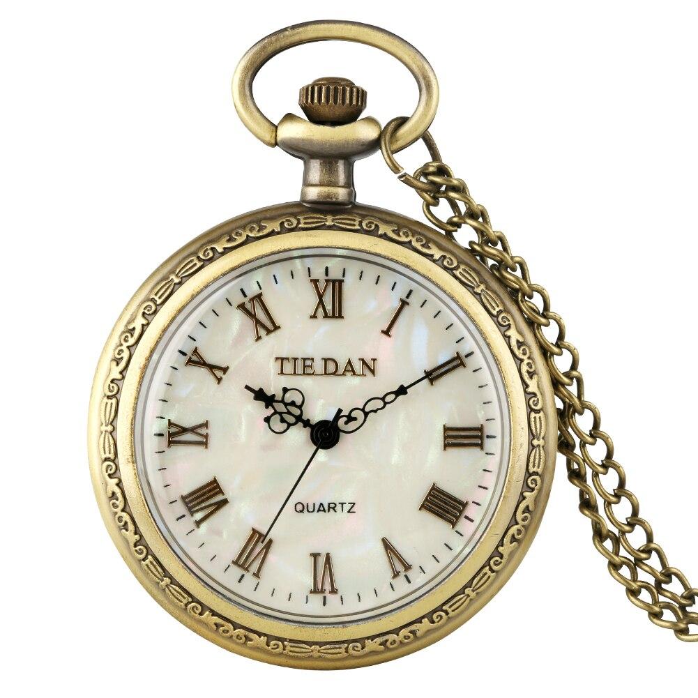 Shell Dial Quartz Pocket Watch Women Slim Think Chain Exquisite Bronze Male Pendant Watch Gift Zuster Klokje Relogio De Bolso