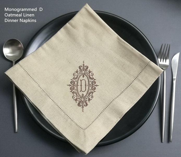 Setof 12 Fashion Monogrammed Napkins Oatmeal Linen Thick Dinner Napkins Table Napkin With Embroidery Color Initial 20x 20- Inch