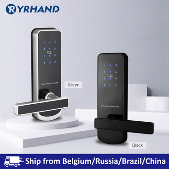 Cerradura electrónica de seguridad, bloqueo de pantalla táctil inteligente WIFI APP, bloqueo de teclado de código Digital Bluetooth con 6085 muesca