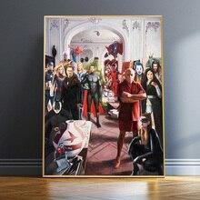 Pintura al óleo Vintage Picasso de superhéroes con impresiones y póster de Superman y Spiderman