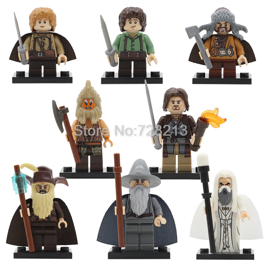 8pcs/lot Beorn Figure Sam Frodo Gandalf Proudfoot Radagast Saruman Galadriel Building Block Models Bricks Toys PG8160 Legoing