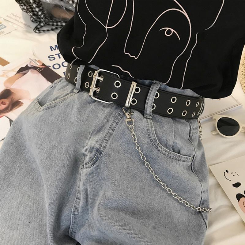 Fashion Harajuku Women Punk Chain Belt Adjustable Black Double/Single Eyelet Grommet Metal Buckle Leather Waistband For Jeans
