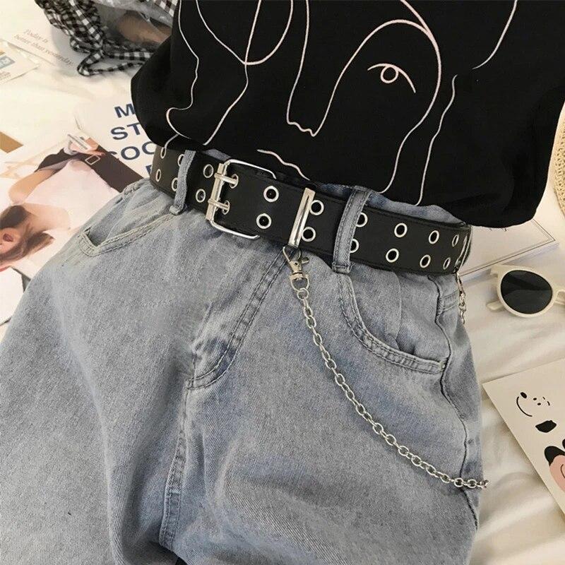 Women Punk Chain Belt Adjustable Black Double//Single Eyelet Leather BuckleBeltA!