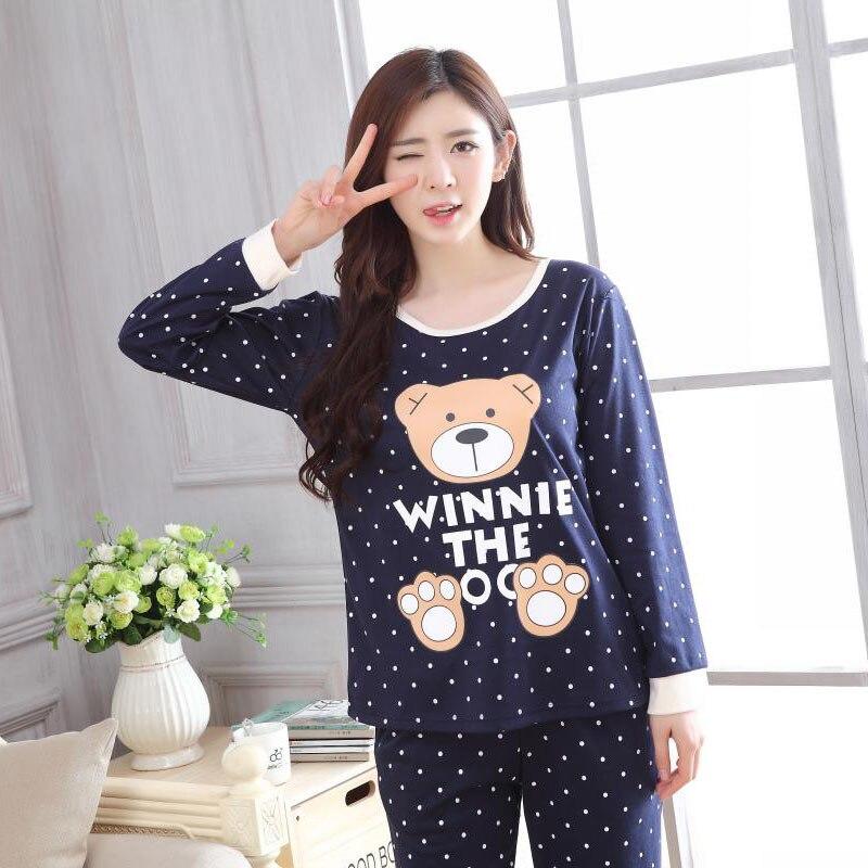 Spring Summer Long Sleeve Pajamas Women's Autumn Thin Cute Cartoon Bear Less Women's Home Wear Two-Piece Set-Outer Wear