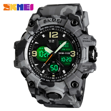 SKMEI Military Sports Watches Men Brand Luxury Quartz Analog LED Digital Clock Man Waterproof Dual Display Wristwatches Relogio cheap 26inch Resin Buckle 5Bar Digital Wristwatches 55mm Rubber 17mm Stop Watch Back Light Shock Resistant LED display luminous