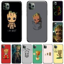 Marvel cute Groot Black Black TPU Soft Rubber Phone Cover For iphone 5 5S SE 5C 6 6S 7 8 plus X XS XR 11 PRO MAX