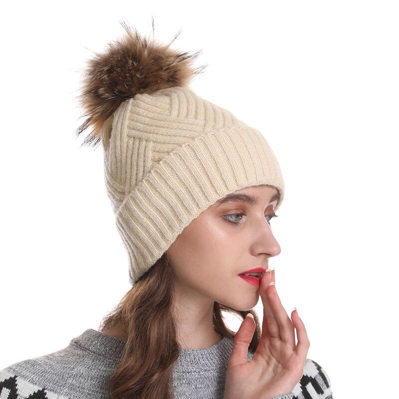Chapeau D'hiver Pour Femmes Naturel Fourrure Pompon