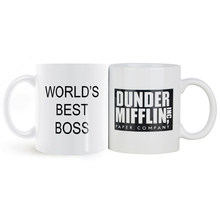 350mL Dunder Mifflin The Office-World's Best Boss Coffee Cup and Mug Funny Ceramic Tea/Milk/Cocoa Morning Mug Unique Office Gift(China)