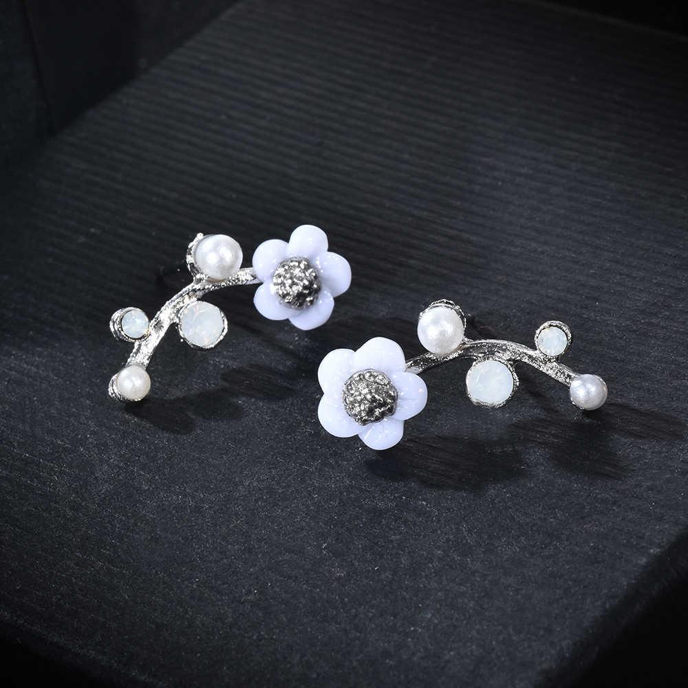 אופנה נשים ילדה אלגנטי פרח חיקוי פניני קריסטל ריינסטון עגיל עגילי מסיבת עגיל תכשיטים סיטונאי