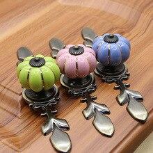4 Pcs/Lot Ceramic Pumpkin Handle Zinc Alloy Chinese Garden Cabinet Drawer Shoe Door Single Hole Wardrobe Direct Selling стоимость