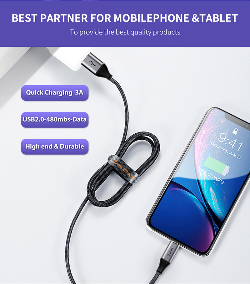 USB Fast Charging Cable For Samsung S20 S10 Xiaomi 3A Redmi Note 7