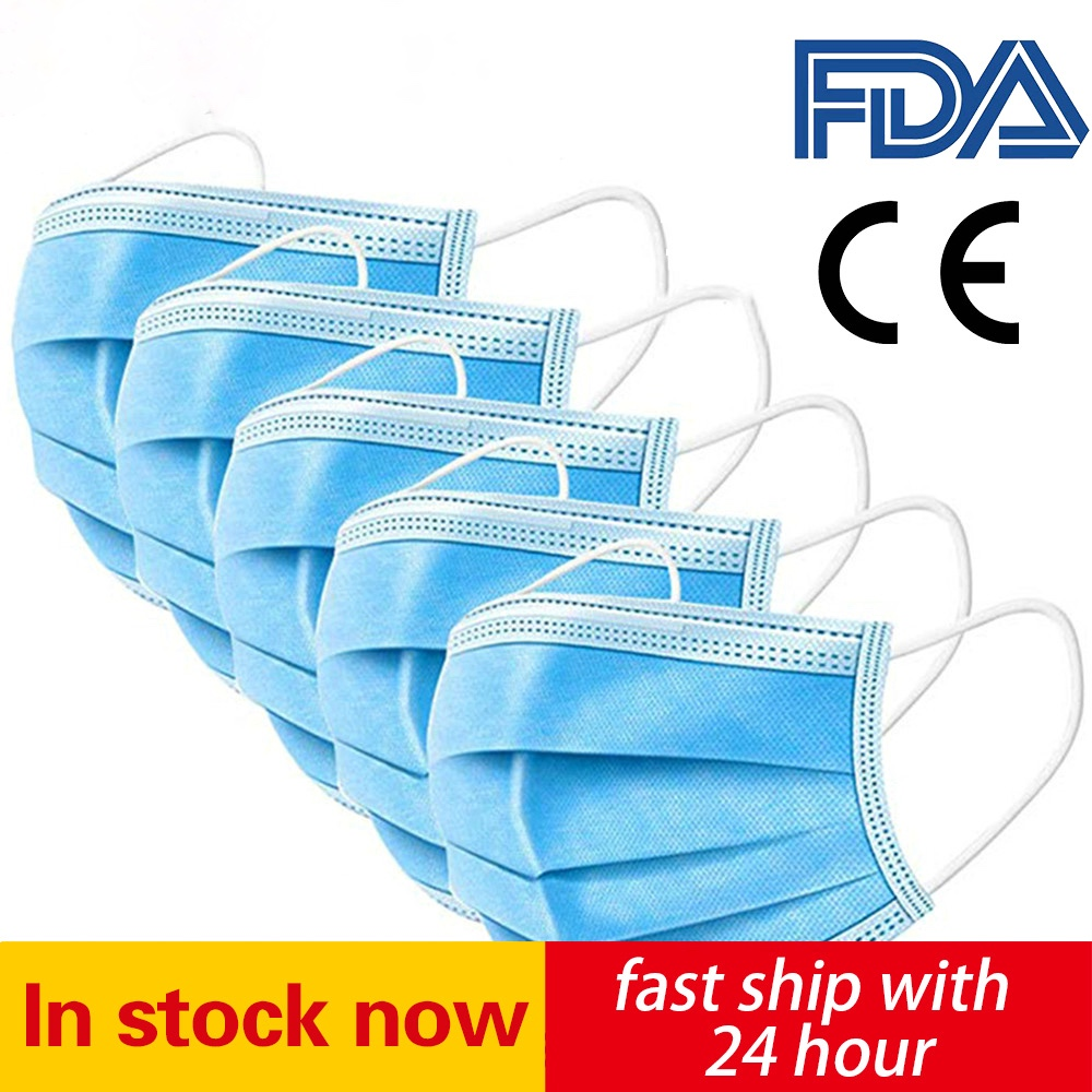 IN STOCK Profession Antivirus Mask 100Pcs Protective MASK Dustproof PM2.5 Elastic Mouth Soft Breathable Face Disposable Mask