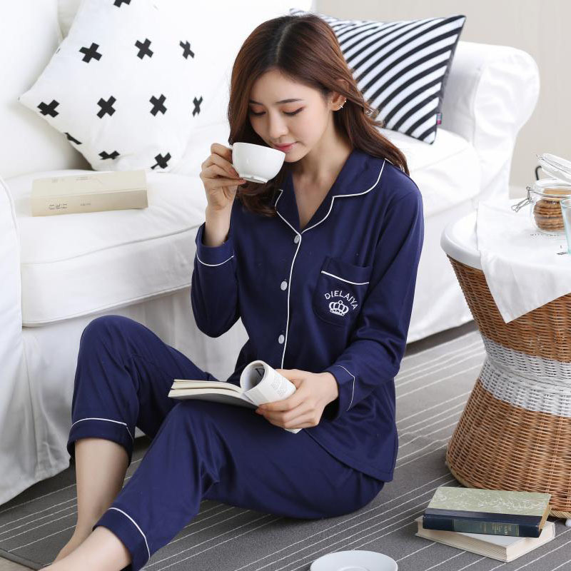 Winter Autumn Pajama Sets Women Cotton Sleepwear Long Sleeve Casual Sleepwear Women Pyjamas