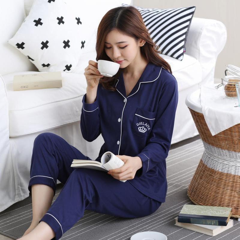 Winter Autumn Pajama Sets Women Cotton Sleepwear Long Sleeve Casual Sleepwear Women Pyjamas