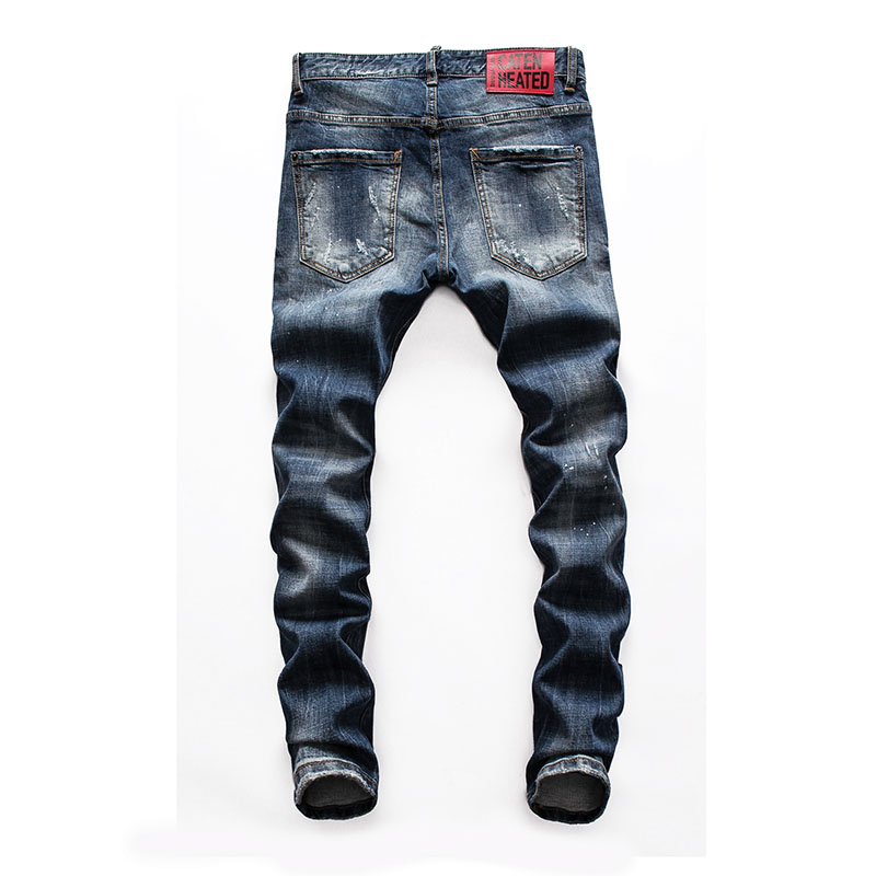 European American Jeans Famous Brand Mens Denim Jeans Men Slim Denim Trousers Button Blue Hole Pencil Pants Jeans For Men 8123