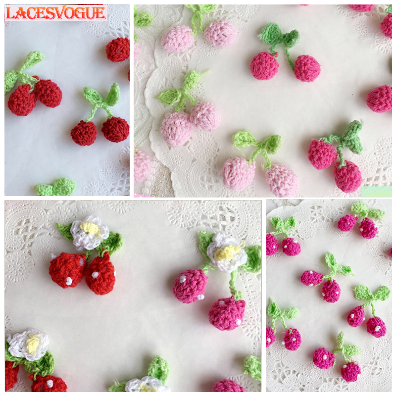 30PCS/lot Handmade Woolen Yarn Crochet Knitted Flower Applique Patchwork DIY Needlework Sewing Accessories Cloth Paste 168
