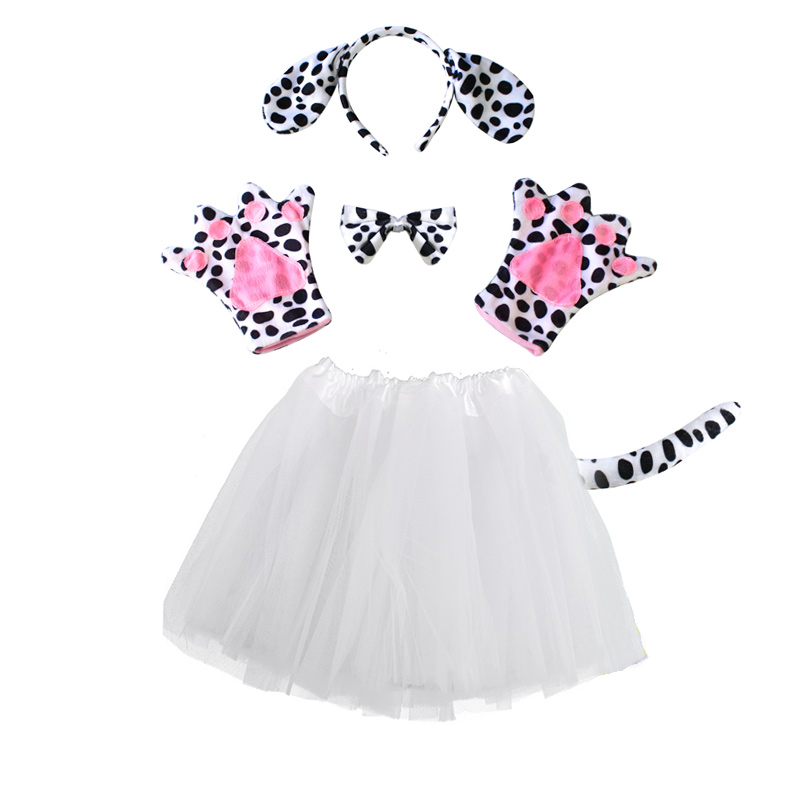Infant Dalmatian Costume | Children Baby Animal Spotty Dog Costume Tail Tutu Skirt Dalmatian Girl Halloween Party Cosplay Costume Gloves Kid