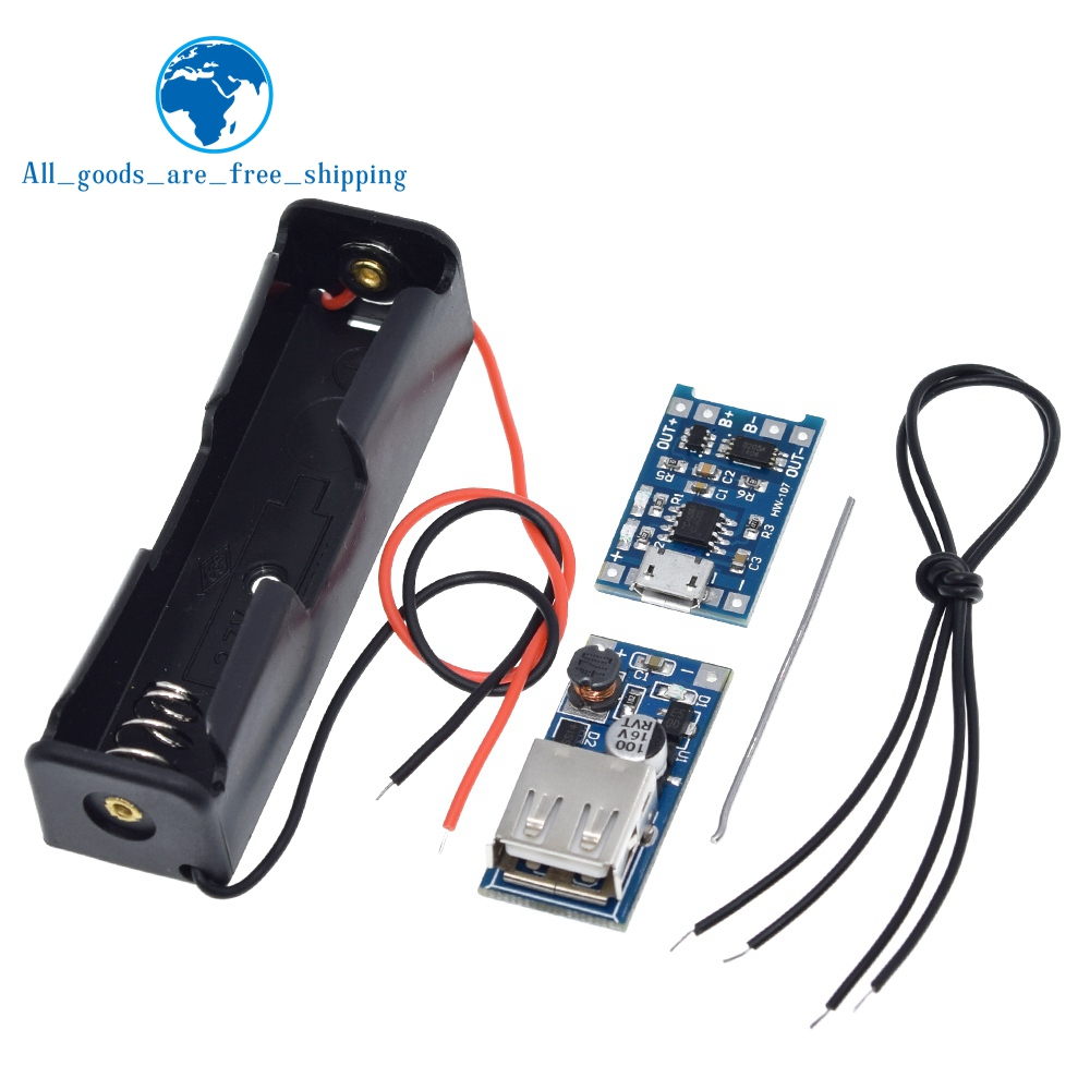 DIY Kit Micro USB 5V 1A 18650 TP4056 Lithium Battery Charger Module +600MA SB Mobile Power Boost Board +18650 Battery Box Case