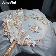 JaneVini Luxury Gold Phoenix Chinese Bridal Hand Bouquets Fan Type Artificial Flowers Pearls Metal Wedding Jewelry Accessories