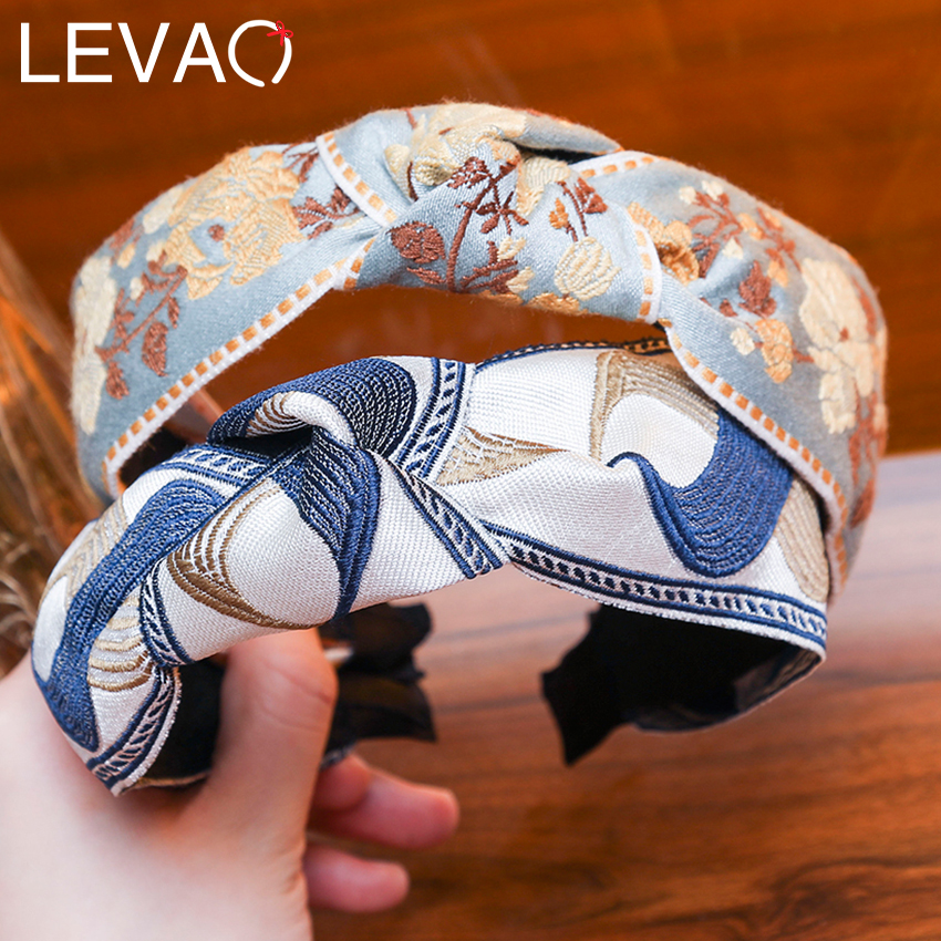 Levao Bohemian Embroider Flowers Headband For Women Girls Hair Accessories Hairband Hair Bows Flower Crown Hair Bands For Women