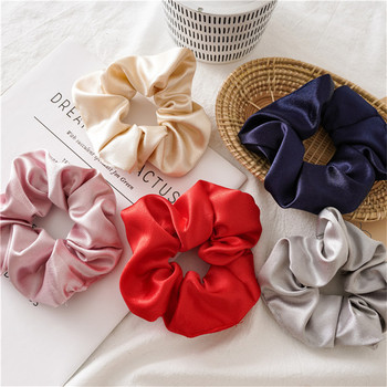 1 Pcs Satin Silk Solid Color Hair Rope Women Soft Scrunchies Ponytail Holder Hair Ties Rope Elastic Hair Bands Hair Accessories 1 pcs new simple hair scrunchies flower beads double line elastic hair bands candy color lovely hair rope hair accessories girls