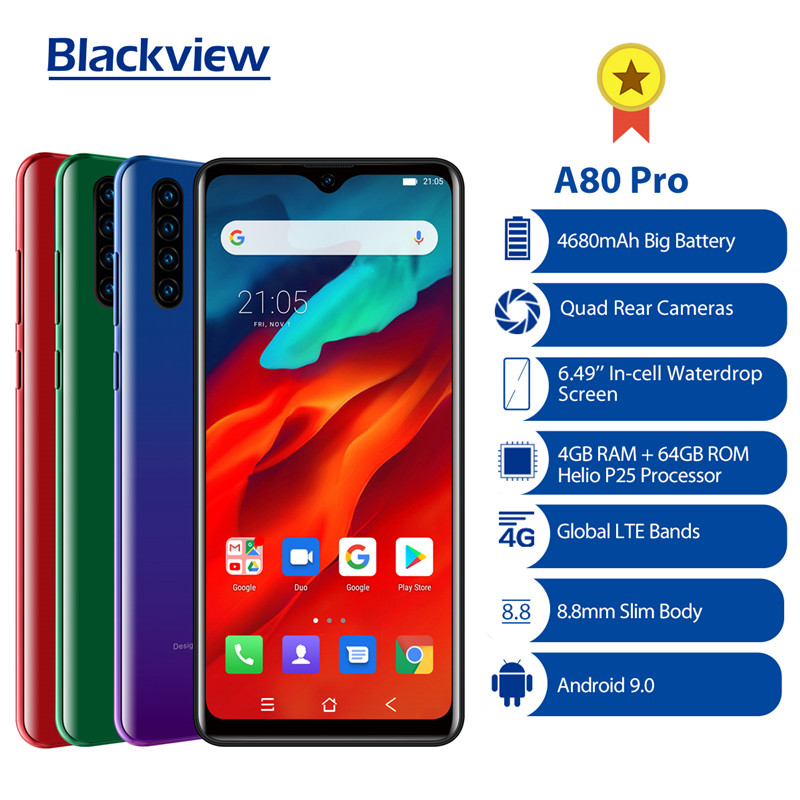 الإصدار العالمي Blackview A80 برو رباعية كاميرا خلفية ثماني النواة 4GB 64GB الهاتف المحمول 6.49 Waterdrop 4680mAh 4G الهاتف الذكي