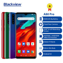Globalna wersja Blackview A80 Pro Quad tylna kamera octa core 4GB 64GB telefon komórkowy 6.49 'waterdrop 4680mAh 4G Celular Smartphone