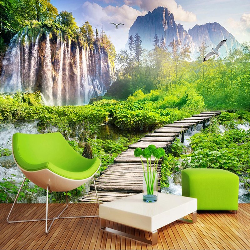 Custom 3D Wall Murals Wallpaper Home Decor Waterfall Nature Landscape Photo Wall Paper For Living Room Bedroom Background Mural