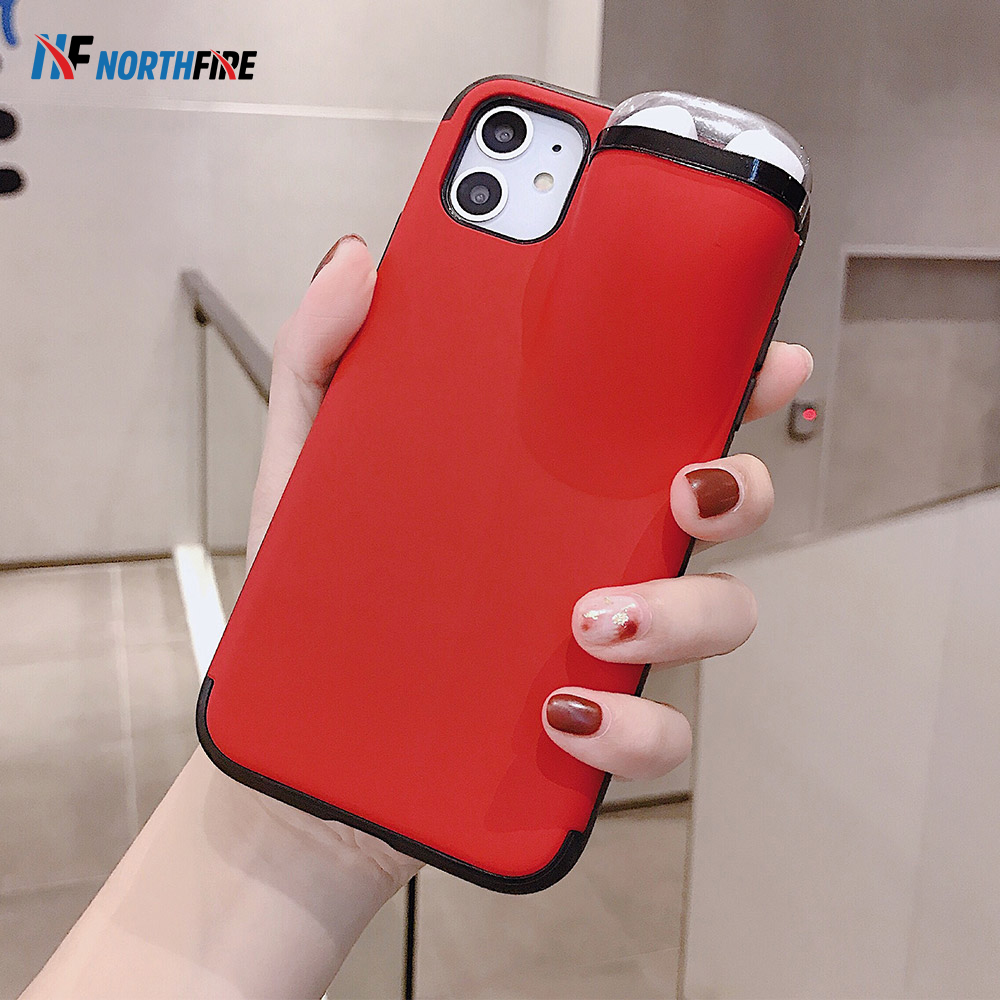 2 In 1 Soft Tpu Phone Case Earphone Storage Box For Iphone 11