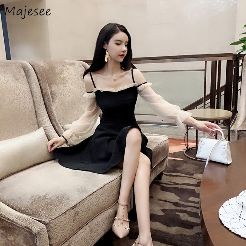Long Sleeve Dress Women Patchwork Mesh Straps Womens Elegant Sexy Clothing All-match Ladies Harajuku Casual Fashion Ulzzang Chic
