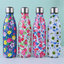 цена на Floral Water Bottle 500ml High Quality Eco Friendly Thermos Flask Stainless Steel Drink Bottle For Water Cold Shaker Coffee Cup