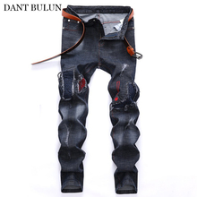 Men Straight Jeans Pants Distressed Biker Moto Pleated Patchwork Ripped Hole Design Male Trouser Men's Jean Homme