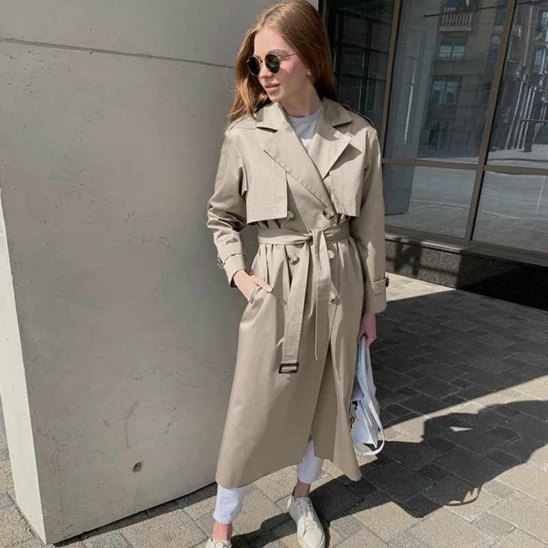 Autumn New British OL Trench Solid Color Temperament Commuter Thin Fashion Female Coat Women's Long Trench Coat Outwear