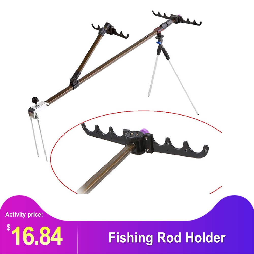 Multi-functional Aluminum Alloy  Fishing Rod HolderAdjustable Retractable Fish Pole Stand Bracket Support Bipod