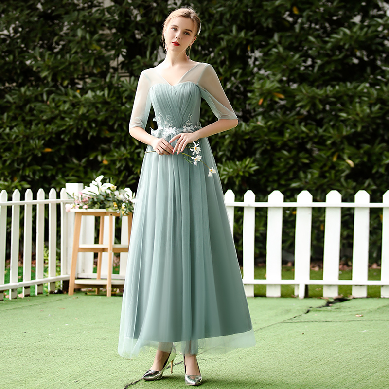 V-neck Long Tulle Bridesmaid Dress Vestidos Mujer Elegant Dress Women For Wedding Party A-Line Simple Dress Sexy Prom Azul Royal