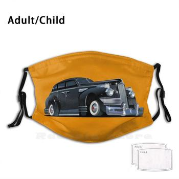 Cartoon Retro Limousine Adult Kids Anti Dust Filter Diy Mask Vector Cartoon Car Vintage Retro Isolated Transport Limousine Limo image