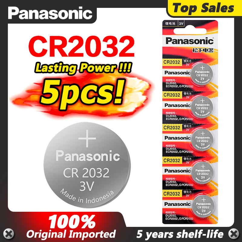 PANASONIC 5Pcs original brand new battery cr2032 3v button cell coin batteries for remote watch computer electronic cr 2032(China)