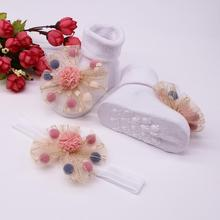 Модные носки, носки для малышей+ 1 шт., пояс для волос, нескользящие носки для маленьких девочек, носки с аппликацией