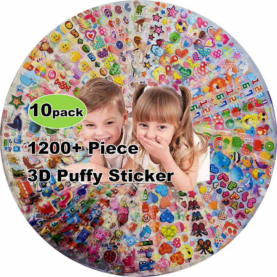 10pcs Different 3D Puffy Bulk Stickers Waterproof PVC Cartoon Animals Anime Kids Scrapbooking Girl Boy DIY Reward Gift Sticker