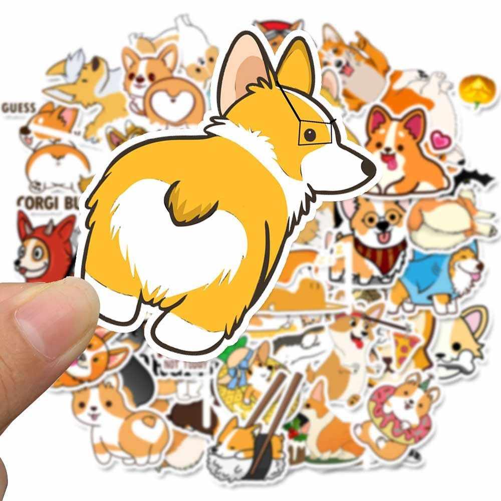 50 adet galce Corgi Pembroke karikatür çıkartmalar sevimli hayvan hayvanlar köpek Moto araba bavul serin dizüstü çıkartmalar kaykay Sticker