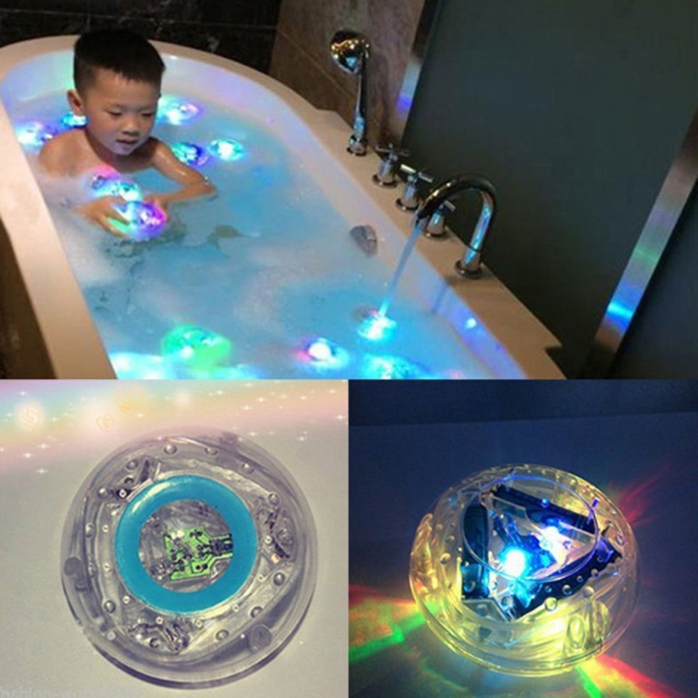 1pcs Kids' Bathroom Colorful LED Light Toy Waterproof In Tub Float Light Show Bath Fun Time Baby Bath Toys For Kids Water Toys