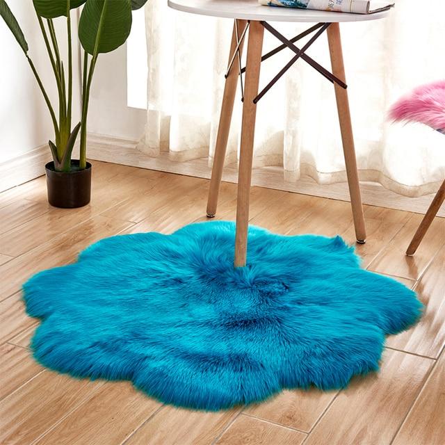 1pc Antiskid Soft Faux Fur Wool Carpet Indoor Sheepskin Rug Modern Carpet Mat Blue White  Gray Living Room 30x30cm 3