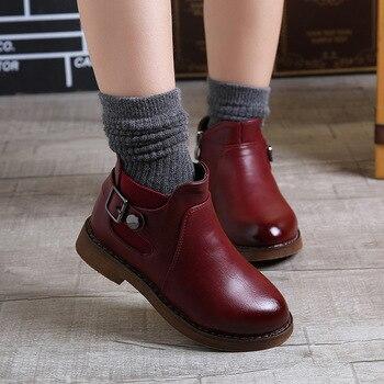 Moda Otoño botas para niños grandes botas de cuero botas de invierno para niñas zapatos para niños impermeables 3 4 5 6 7 8 9 10 11 12 años