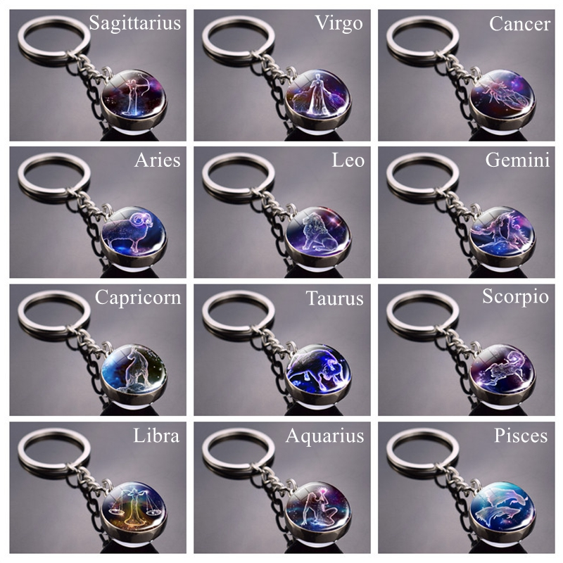 Dropshipping 12 Constellations Keychain Zoidac Signs Picture Glass Ball Key Chains Constellation Jewelry For Women Birhtday Gift