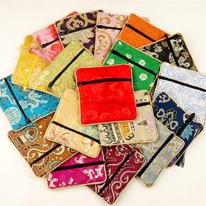 Chinês de seda brocado moeda bolsas bonito acolchoado jóias malotes zíper pequenas borlas presente sacos borlas pequena festa favores