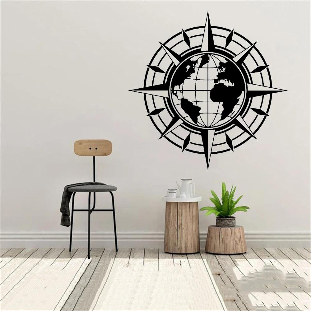 wall decal map of the world compass travel earth globe sticker vinyl art deco sticker living room office classroom decor wl559